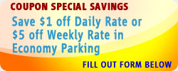 Save $1 off Daily Rate or $5 Weekly Rate in Economy Parking